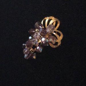 Vintage Purple Crystal Grape Brooch Pin